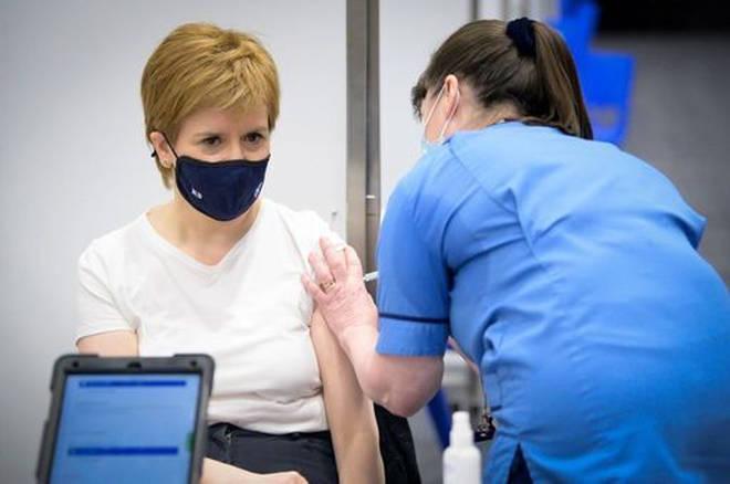 Nicola Sturgeon receives the first shot of the Astra Zeneca vaccine