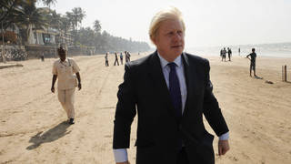 Boris Johnson has cancelled his trip to India (pictured during a previous trip)