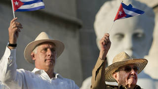 Miguel Diaz-Canel, left, and Raul Castro