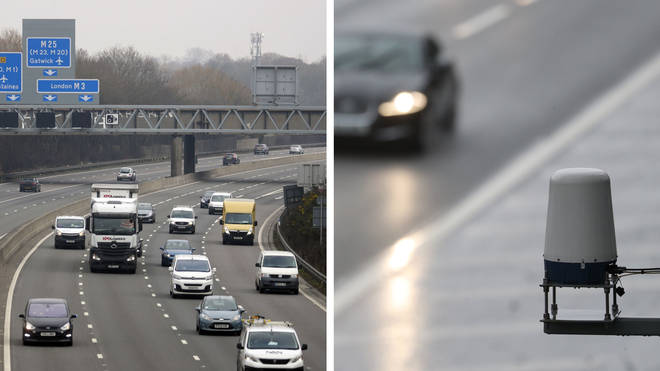The M3 smart motorway near Longcross in Surrey, and a Stopped Vehicle Detection radar sensor