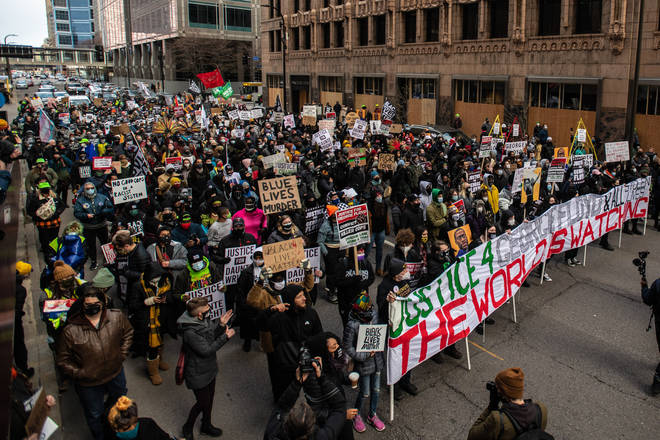 Protestors demonstrate in Minneapolis as Derek Chauvin's trial draws to a close