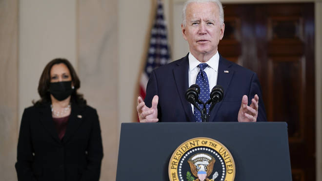 President Joe Biden, accompanied by Vice President Kamala Harris, addresses the nation from the White House after the George Floyd verdict