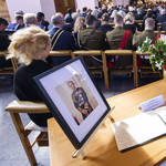 A portrait of Philip is displayed during a national memorial service in Wellington,