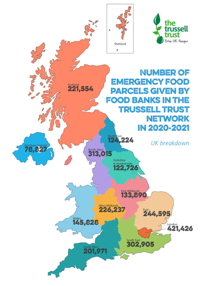 Over 420,000 food parcels were handed out in London in the past year