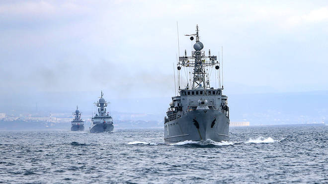 Russian navy ships during navy drills in the Black Sea