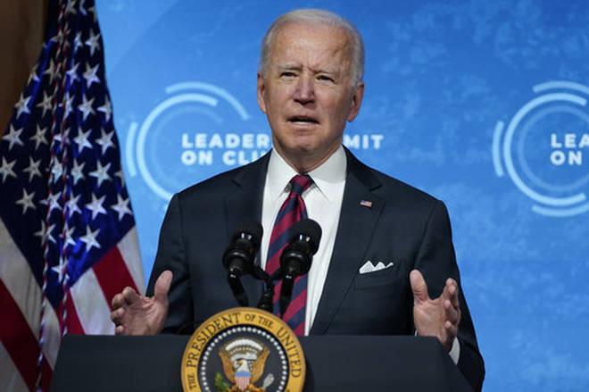 President Joe Biden speaks to the virtual Leaders Summit on Climate