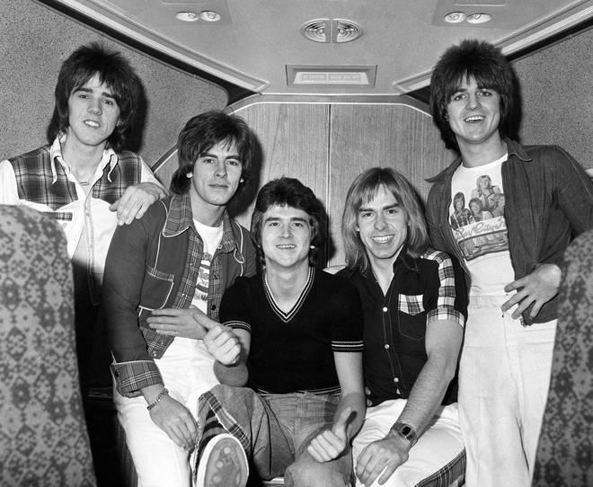 Left to right: Stuart Wood, Alan Longmuir, Les Mckeown, Derek Longmuir and Eric Faulkner of the Bay City Rollers in 1975