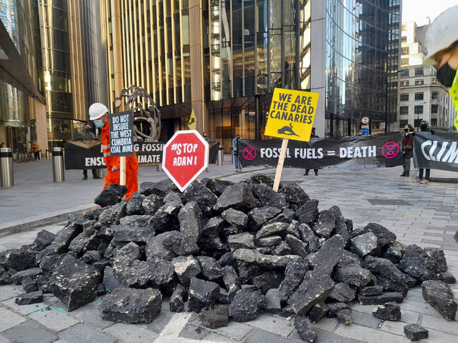 """Protesters have accused Lloyds of London of enabling a """"climate breakdown"""""""