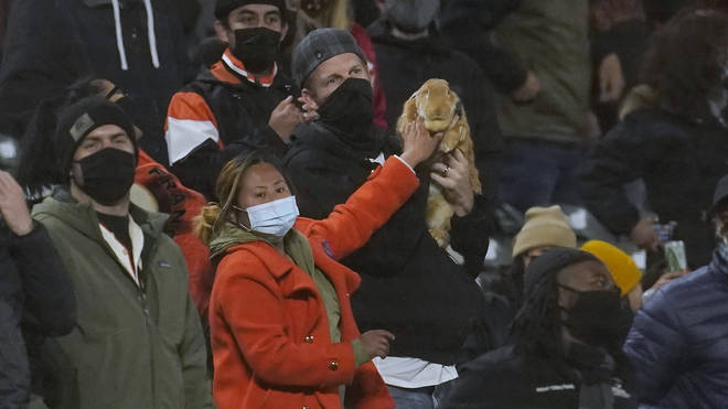 Kei Kato, left, and her fiance Josh Row hold a therapy rabbit named Alex during the ninth inning of a baseball game between the San Francisco Giants and the Miami Marlins in San Francisco