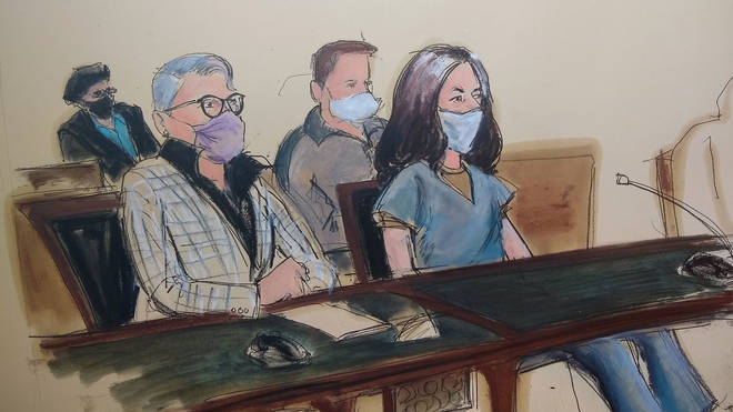 A sketch of Ghislaine Maxwell, far right, in court in New York