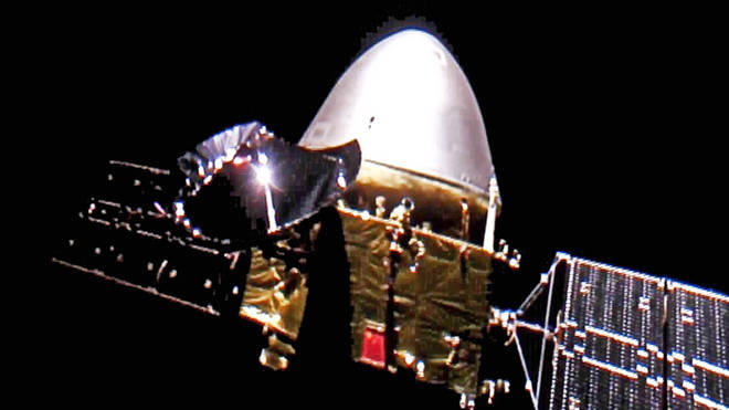 The Tianwen-1 probe en route to Mars (China Space Agency/AP)