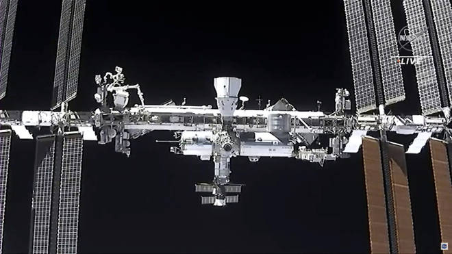 The ISS as seen from the SpaceX Crew Dragon spacecraft Saturday, April 24, 2021.