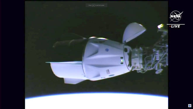 The capsule came in to dock at around 10.19am UK time.