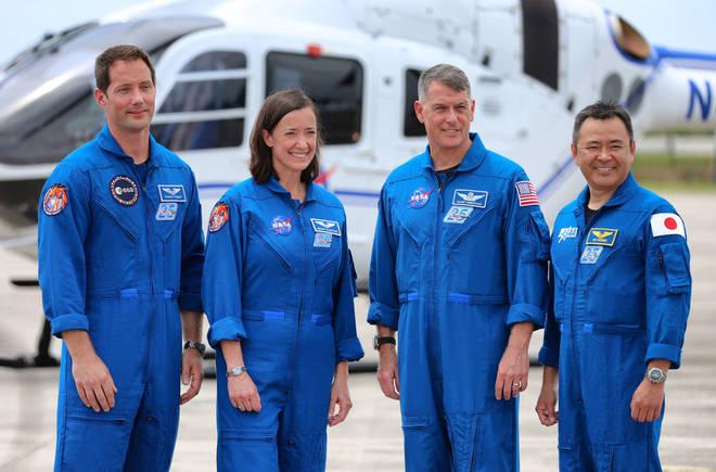 European Space Agency astronaut Thomas Pesquet, NASA astronauts Megan McArthur, Shane Kimbrough, and Japanese astronaut Akihiko Hoshide