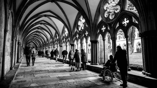 People queuing at the vaccination centre in Salisbury Cathedral