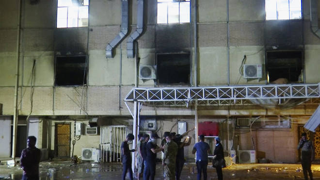 The fire is believed to have been caused when at least one oxygen cylinder exploded inside the hospital, local media reported.