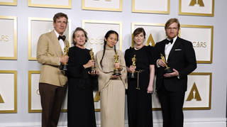 ) Peter Spears, Frances McDormand, Chloe Zhao, Mollye Asher, and Dan Janvey, winners of Best Picture for Nomadland