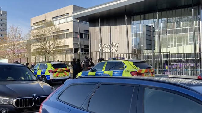 A man has been detained following reports of shots being fired near Crawley College in West Sussex, police have confirmed