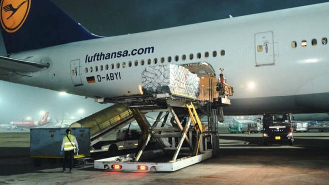 Vital medical supplies from the UK landed in India on Tuesday