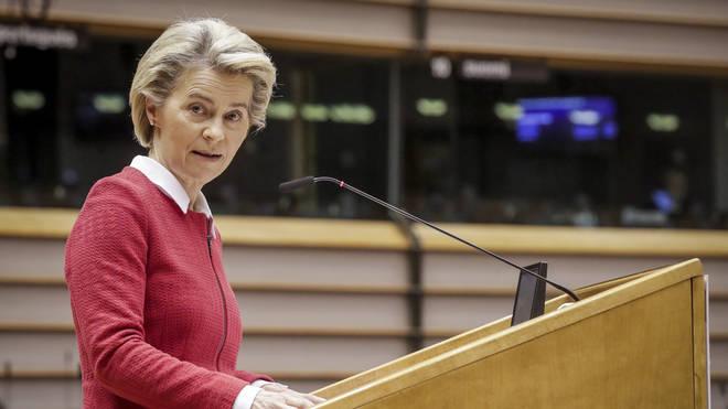 Ursula Von Der Leyen addresses the European Parliament