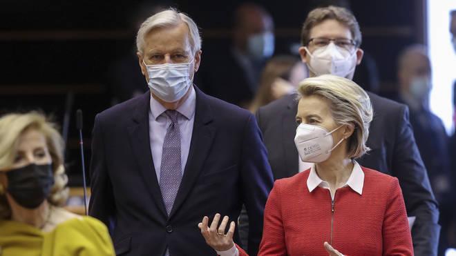 Michel Barnier with Ursula von der Leyen