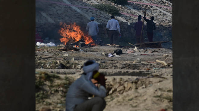 Funeral pyres can be seen of the patients who died of the Covid-19 coronavirus