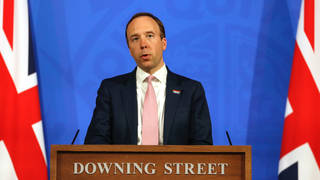 Matt Hancock at Wednesday's Downing Street press conference