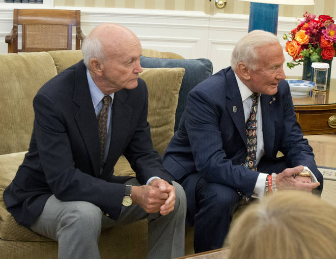 "Surviving Apollo 11 astronauts Michael Collins and Edwin ""Buzz"" Aldrin meet United States President Barack Obama in 2014"