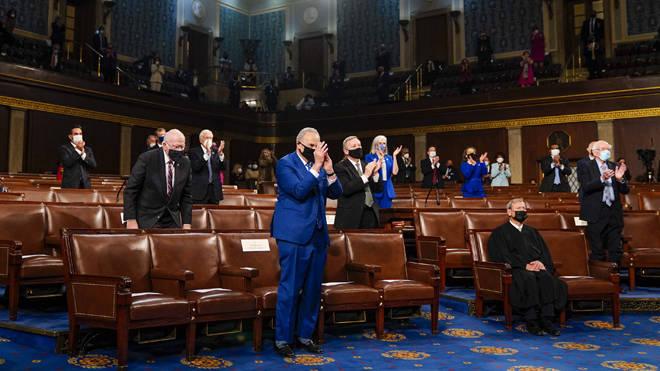 Joe Biden's speech was delivered to a socially distanced Congress chamber