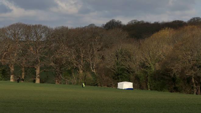 A tent was set up in a field near Snowdown