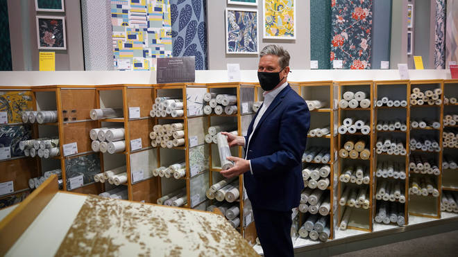 """Labour leader Sir Keir Starmer has denied a trip to John Lewis to look at wallpaper was a """"stunt""""."""