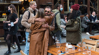 Hugging friends and family is set to be allowed in two weeks