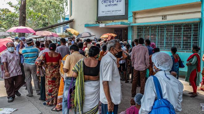 A vaccination queue at Barasat state General hospital in India