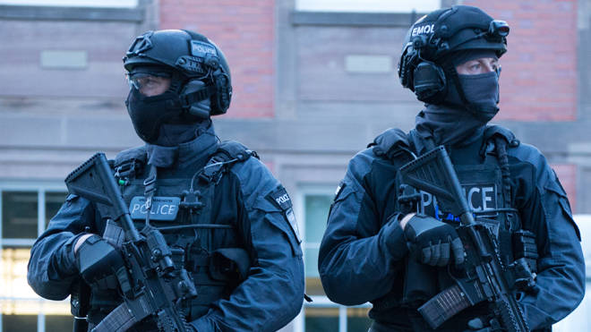 Five people were arrested as part of an investigation into right wing terrorism (file image of armed police)