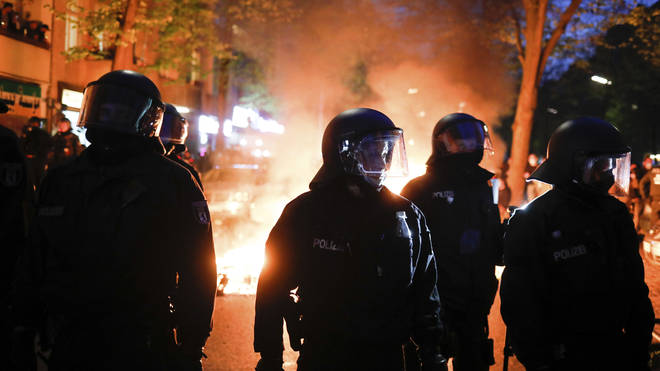 Police officers during a May Day rally in Berlin