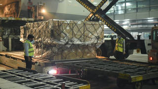 A shipment of ventilators arrives in India from the UK earlier this week