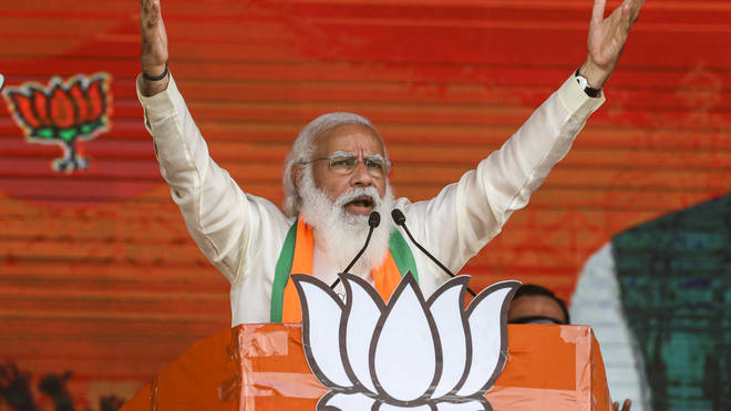 Indian Prime Minister Narendra Modi addresses a public rally ahead of West Bengal state elections in Kolkata, India