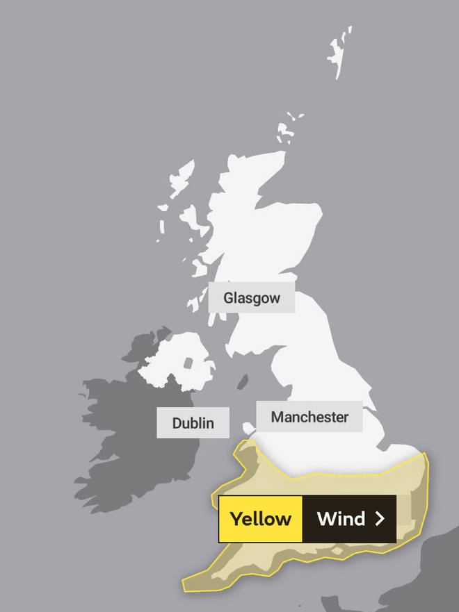 Yellow wind warnings are in place for much of Wales and southern England from midday Monday to 9am Tuesday.