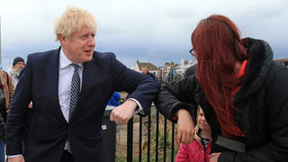 """Speaking on a trip to Hartlepool, Boris Johnson said there is a """"good chance"""" social-distancing rules can be scrapped from 21 June."""