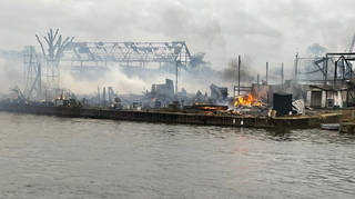 The fire took place in Hampton on an island on the River Thames