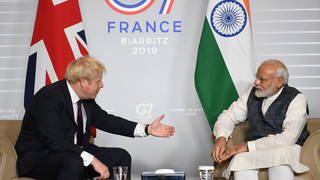 File photo of Boris Johnson meeting Narendra Modi at the 2019 G7 Summit in France