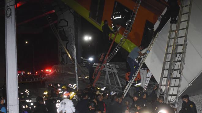 Mexico Metro collapse scene