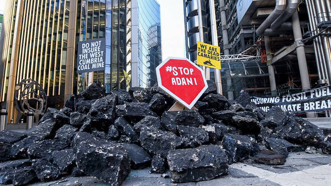 An Extinction Rebellion coal protest in London