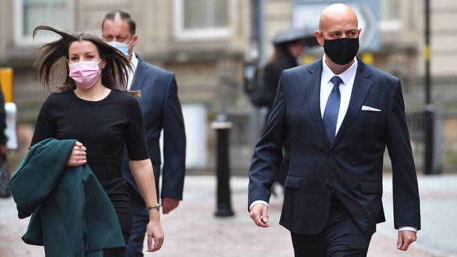 PCs Benjamin Monk (right) and Mary Ellen Bettley-Smith (left) arrive at Birmingham Crown Court