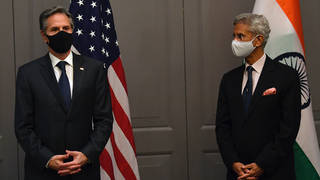 US Secretary of State Antony Blinken, left, at a press conference with India's foreign minister Subrahmanyam Jaishankar following a meeting in London on Monday
