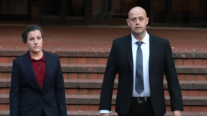 PC Benjamin Monk (right), who is accused of murdering ex-football star Dalian Atkinson