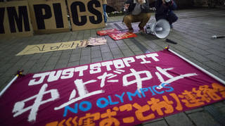 A banner opposing the Olympics