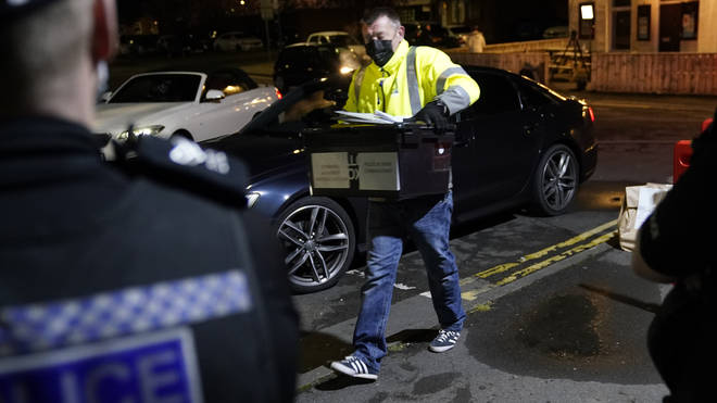 Ballot boxes are taken to be counted at the Parliamentary by-election in Hartlepool