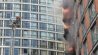 The fire broke out at flats in Poplar