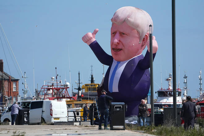 An inflatable of Boris Johnson was put up in Hartlepool